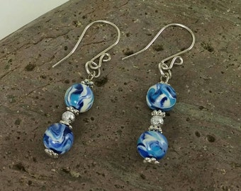 Blue and White dangle earrings - Bead earrings - Polymer Clay Jewelry - Clay Jewelry - Art Jewelry - Gift Idea - Jewelry Gift