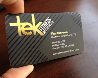 """250 Business Cards or Hang tags - 12 mil white opaque plastic stock - Metallic foil gold silver copper rose - 3.375""""x2.125"""" - custom printed"""