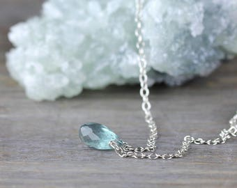 Dainty Moss Aquamarine Necklace in 14k Gold Filled or Sterling Silver, Delicate Aquamarine Jewelry, Teardrop Pendant, Blue Green Gemstone