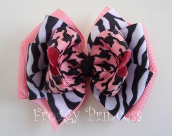 Pink and Black Hair Bow - Boutique Bow - No Slip Velvet Grip Hair Clip