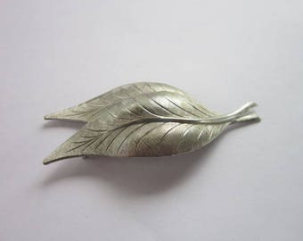 Large Costume Double Leaf Silver Tone Brooch