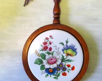 Vintage Ceramic and Wood Trivet Wall Hanging  White tile with Floral Design   733