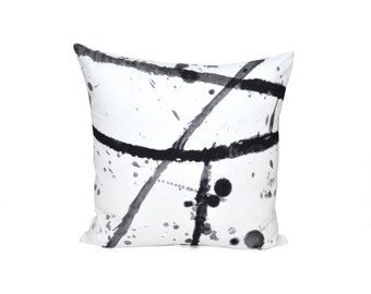 Pierre Frey Pillow | Black And White  Decorative Pillow | Splatter Throw Pillow | Linen Pillow Cover