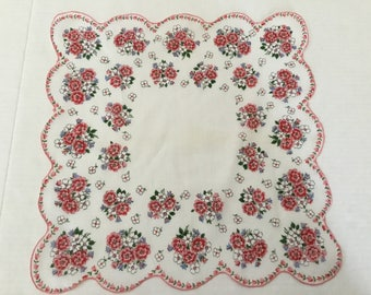 Vintage Handkerchief / Red White Blue Flowers