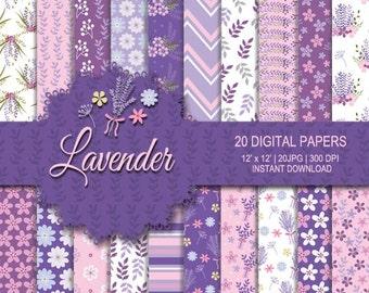 Lavender digital paper, flower digital paper, lavender background, lavender pattern, flower background, flower pattern, pink, purple digital