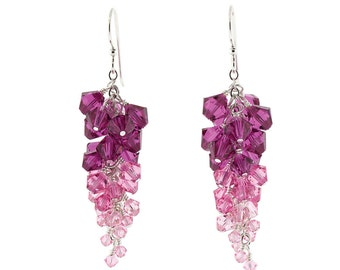 Pink Swarovski Crystal Ombré Cluster Earrings