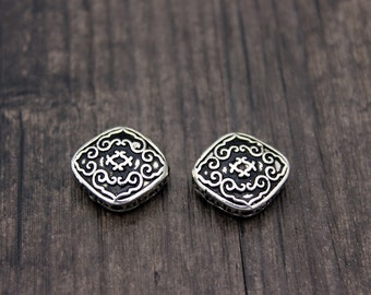 1PC Sterling silver Square bead,Sterling silver square spacer bead, flat square beads,bead spacer,flat spacer bead