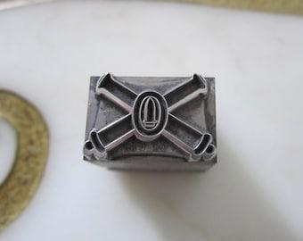 U.S. Army Coast Artillery Insignia Emblem Antique Letterpress Printing Block