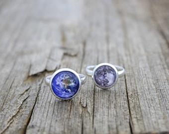 Earth and Moon, Earth, Moon, Earth Ring, Moon Ring, Moon and Earth Rings, Full Moon Ring, Solar System Ring, Space Ring, Planet Ring