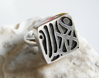 Hopi Sterling Silver Ring Signed, Vintage Native American Overlay Design Ring Size 7.5, Handmade Southwest Style Ring