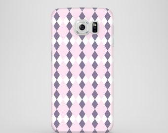 Pastel Pink Argyle phone case, pastel lilac case, Samsung Galaxy S7, Samsung Galaxy S6, Samsung Galaxy S6 Edge, Samsung Galaxy S5, iPhone