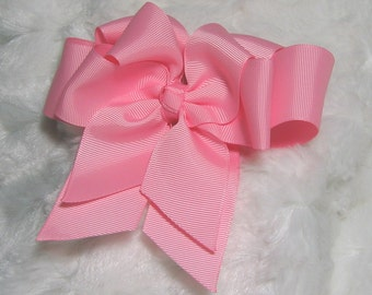 Basic Solid Pink Girls 5 inch Double Hair Bow for Spring
