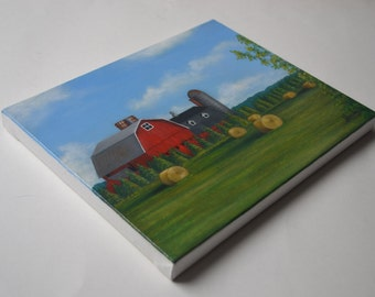 Original 8x10' red barn painting, landscape painting, summer painting, hay bales painting, silo, country painting, farm painting, art