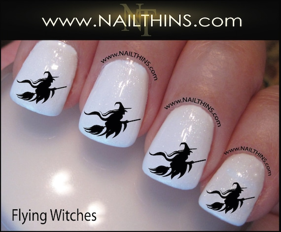 Witch Nail Decal Halloween Flying Witch on Broom Nail Art Nail ...