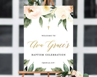 Baptism Welcome Sign, Communion Welcome Sign, Floral Baptism, Floral Communion | Customizable Digital FIle