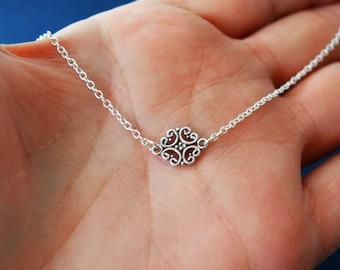 Sterling Filigree Choker, Sterling Silver Necklace, 13 Inch Necklace, Dainty Filigree Necklace, Sterling Silver