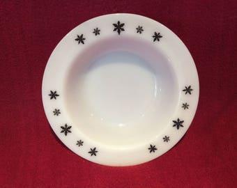 "Pyrex JAJ Gaiety Black Snowflake Dessert Pudding or Soup Bowls 6"" diameter"
