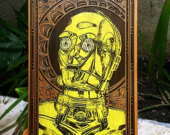 C3PO Star Wars Poster, Android Star Wars Art, Wood Laser Engraved, Hipster Wall Art Star Wars, C3PO Paint, C3PO Portrait, Star Wars Gift