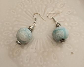 Earrings with sky blue  polymer bead