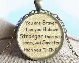 Antique bronze inspiration cabochon / encouragement necklace / mental health jewellery / motivation pendant / quote cabochon