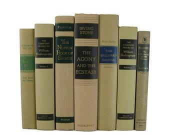 Ivory Tan Black Green Blue Vintage Book Decor , Decorative Books ,  Photo Prop , Bookshelf Decor , Home Decor , Old Book Decor ,