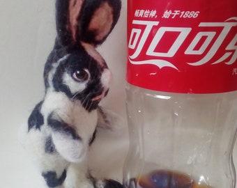 Needle felted black white Rabbit. Needle felted Animal. Needle felted soft sculpture.ooak