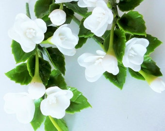 Miniature Polymer Clay Flowers Supplies for Dollhouse, White Poppy with leaves, 6 Bunches
