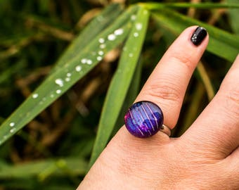 Fused Dichroic Glass Purple Striped Ring