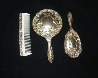 Silver Plated Gold in Color Ornate Scroll Vanity Set With Mirror, Brush, & Comb