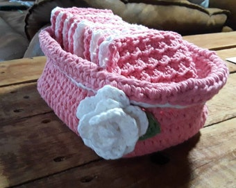 Crocheted Basket with wash cloths