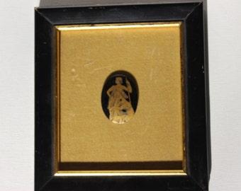 Small Cameo Art Framed Black and Gold Grecian God and Godesses Toga Greek Artwork