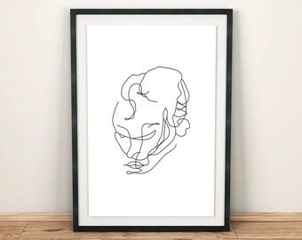 Contour Man Face 2 Line Art Print, Line Drawing, Figure Drawing, Minimalist Wall Art, Wall Decor, Modern Art, Design