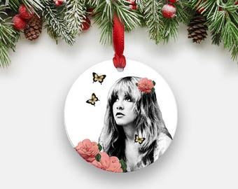 STEVIE Nicks Holiday Ornament, Gypsy Roses Art Print Round Aluminum Circle Boho Christmas Ornament, Fleetwood Mac Gifts Stocking Stuffers