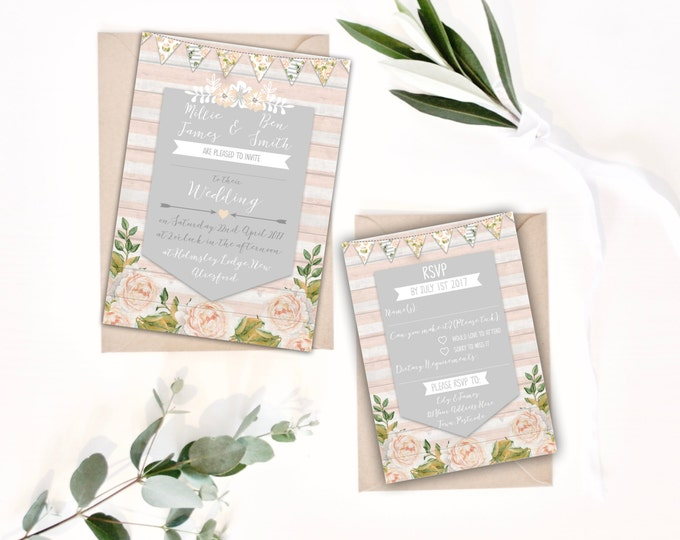 PRINTABLE Digital Files - DIY Wedding Invitation Bundle - Rustic Floral Millie Collection - Grey and Peach-Pink Blush - 5x7 invites A6 RSVP