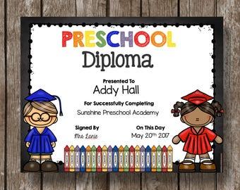 50% OFF SALE - Preschool Diploma - Graduation - Printable - Editable - INSTANT Download - Classroom -Teacher - Chalkboard