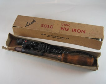 1950's Vintage Wood Handled Lenk No. 100-1 Pointed Tip Soldering Iron