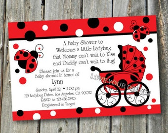 Ladybug Buggy Baby Shower Invitation Red dots - jpeg file for printing