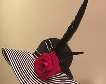 Kentucky Derby Ladies Black and White Floppy straw hat. Beautiful with big bold silk rose and black feather.