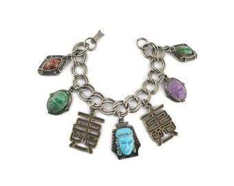 Blue Glass Asian Princess Bracelet/ Eypytian Hierogliphics / Lucite Scarab Beetle Charms/ Silk Road Bracelet /Feng Shui Double Happiness
