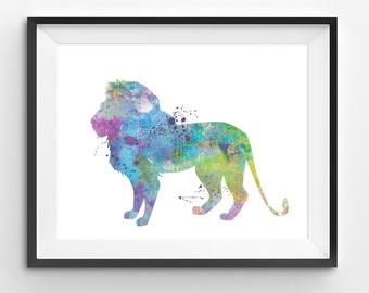 Colorful Lion Watercolor Print, Lion Print, Lion Digital Print, Abstract Lion Print, Lion Art, Living Room Decor, Modern Kids Art