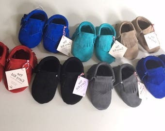Handmade genuine suede leather moccasins