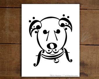 Music / UKE // DOG SERIES // Music art print - 5x7, 8x10, 11x14 Fine art print / Music teacher gift / Music wall art / Music decor / Dog art