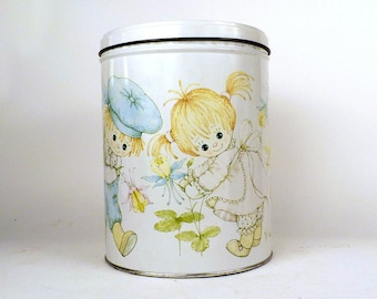 Vintage, child's, Canister, Tins, Metal can, vintage tin, storage, Metal canister, shabby chic, Cookie canister, Retro Kitchen 6x8 ByHeart