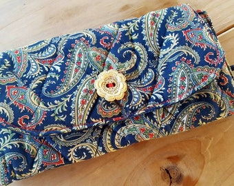 Quilted Ladies Wallet, Floral checkbook holder, Navy Billfold, Fabric Wallet, Paisley Wallet, Quilted Billfold, Ladies Billfold