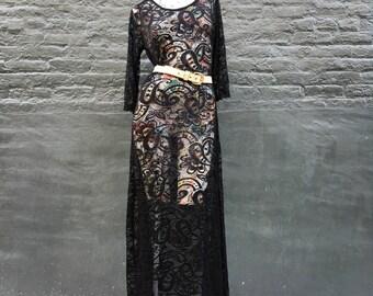 Vintage Black Lace Maxi Dress  small medium