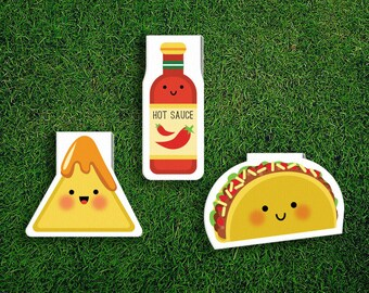 Magnetic Bookmark Set | Taco Nachos Hot Sauce Magnet Cute Book Bookmarks Pack of 3 Magnetic Quirky Kawaii Mexican Food Cheese Corn Chips