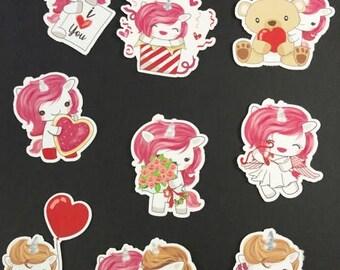 Unicorn Valentine Die Cuts, Planner Stickers