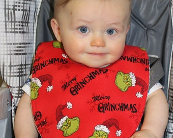 Merry Grinchmas Cotton / Terry Cloth Bib