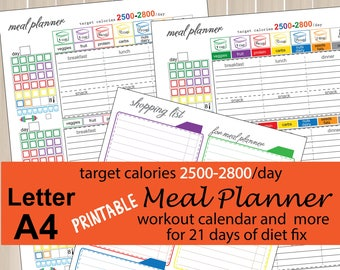 2500 -2800 Calories Tracking Sheet, Daily Meal Planner for 21 days of diet fix, Shopping List, workout calendar and  more-Instant Download