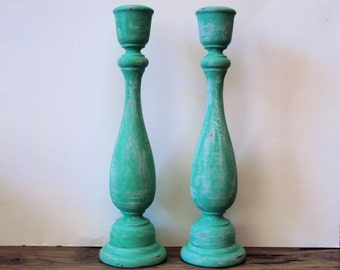 Bohemian Distressed Candlesticks - Set of 2 Tall Teal Turquoise Candle Holders - Wooden Gypsy Candle Sticks - Colorful Shabby Boho Decor